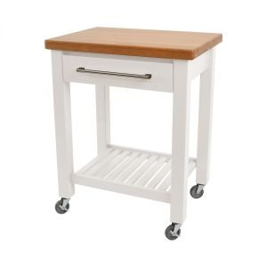 Studio Trolley White Hevea / Oak Top - Flat Packed image