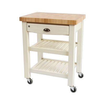 Pembroke Trolley Antique Cream / Hevea Top - Assembled image