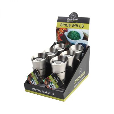 POS Display Box Containing 6 Spice Mills Stainless Steel Plus Additional 6 image