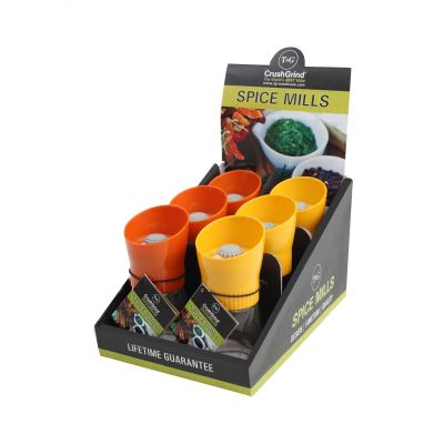 POS Display Box Containing 6 Sola Spice Mills Orange/Yellow Plus Additional 6 image