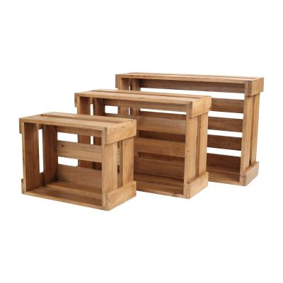 Set 3 Rustic Crates (Nested) (320x240x160mm & 420x300x160mm & 500x350x170mm) image