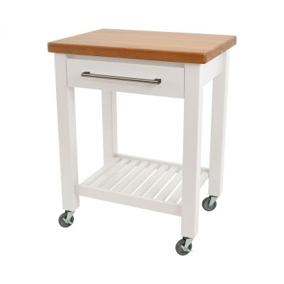 Studio Trolley White Hevea / Oak Top - Assembled image