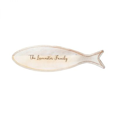 Personalised Wooden Fish Board White image