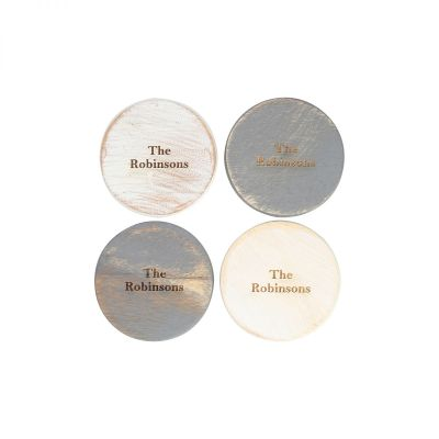Personalised Set Of 4 Wooden Coasters Grey & White Assorted image