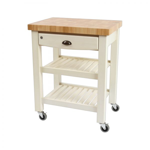 Pembroke Trolley Antique Cream / Hevea Top - Assembled