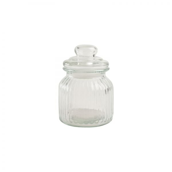 Small Ribbed Glass Jar