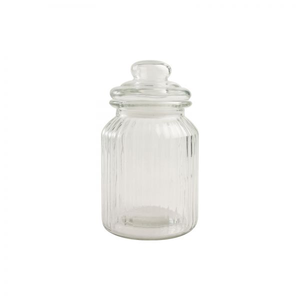 Medium Ribbed Glass Jar