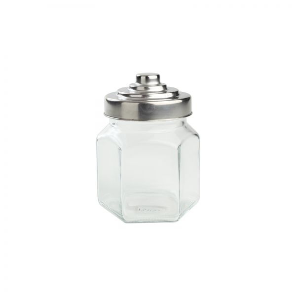 Small Hexagon Glass Jar