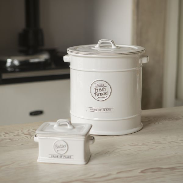 Pride Of Place Bread Crock White