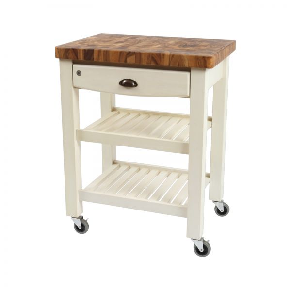 Pembroke Trolley Antique Cream / Acacia Top - Flat Packed