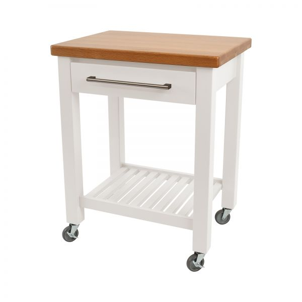 Studio Trolley White Hevea / Oak Top - Flat Packed