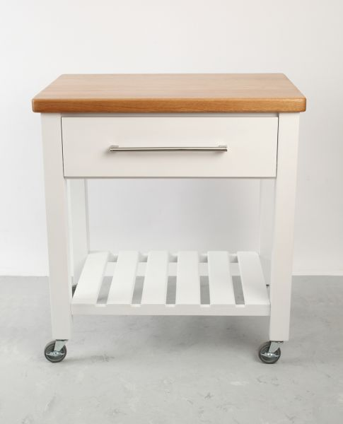 Loft Trolley White Hevea / Oak Top - Flat Packed