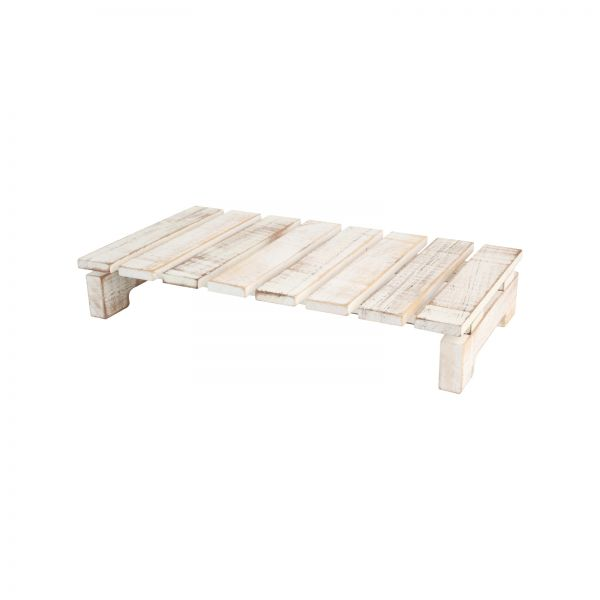 Drift Rectangular Slatted Table Rustic White image