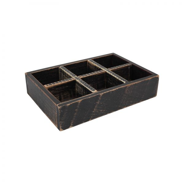 Drift Six Compartment Storage Box Rustic Black image