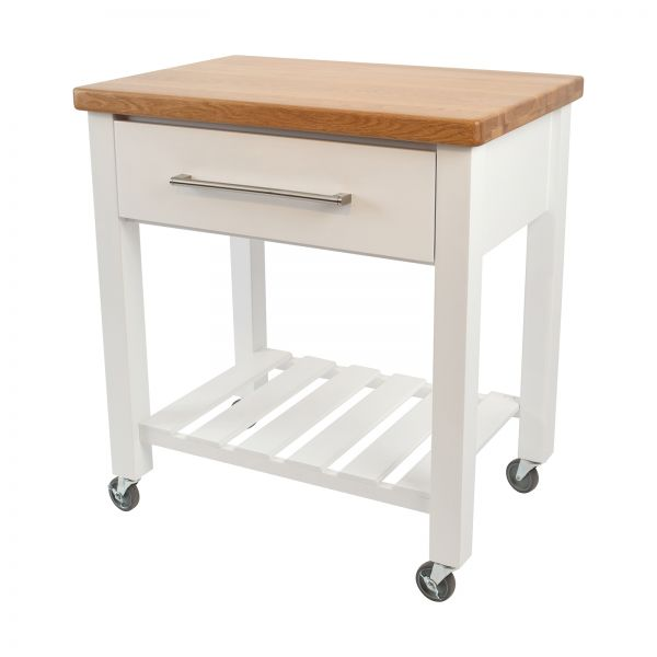 Loft Trolley White Hevea / Oak Top - Flat Packed image