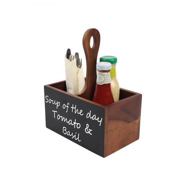 Table Tidy With Two Compartments, Handle And Chalk Board To One Side image